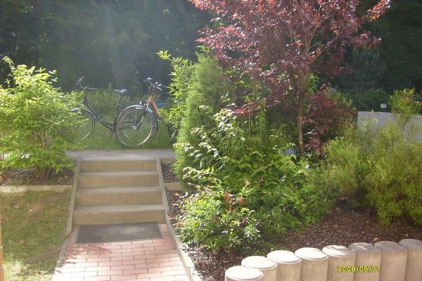 Blick von der Terrasse mit den nutzbaren Fahrrädern