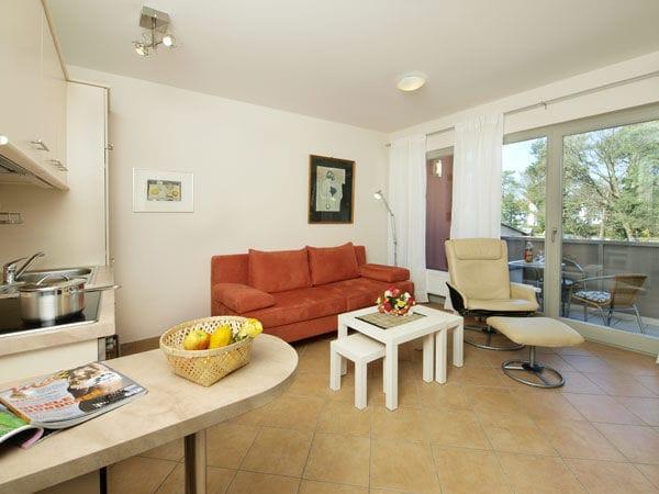 Wohnzimmer mit Schlafcouch (1 Pers.) und Küchenzeile