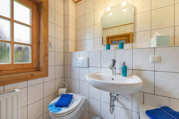 ... Waschbecken, WC und Fenster.