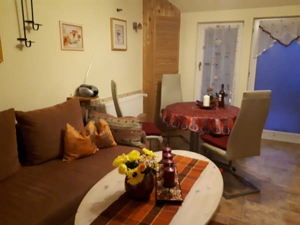 Wohnbereich mit ausziehbarer Schlafcouch und Essbereich