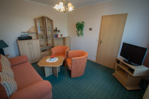 Wohnzimmer ( Aufbettungsmöglichkeit )