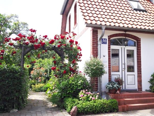 Durch diesen Rosenbogen kommen Sie zu Ihrem separaten Wohnungseingang