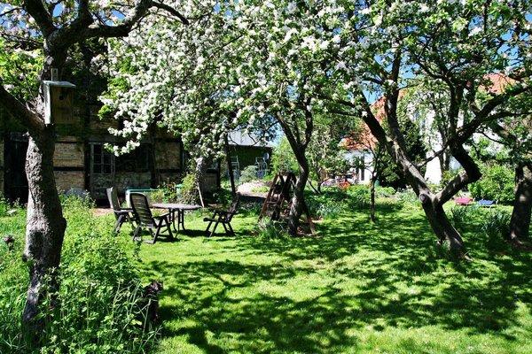 Nehmen Sie Platz im idyllischen Obstgarten