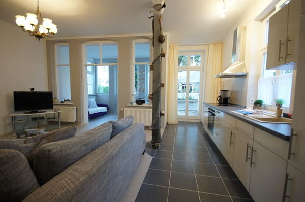 gemütliches Wohnzimmer mit moderner Wohnküche