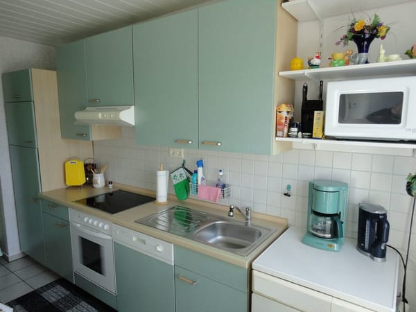 Küche mit E-Herd, Spüle und Kühlkombination