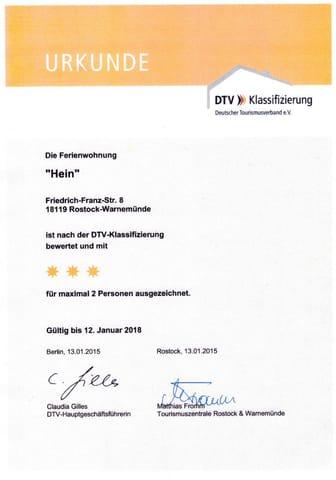 Urkunde DTV - Klassifizierung