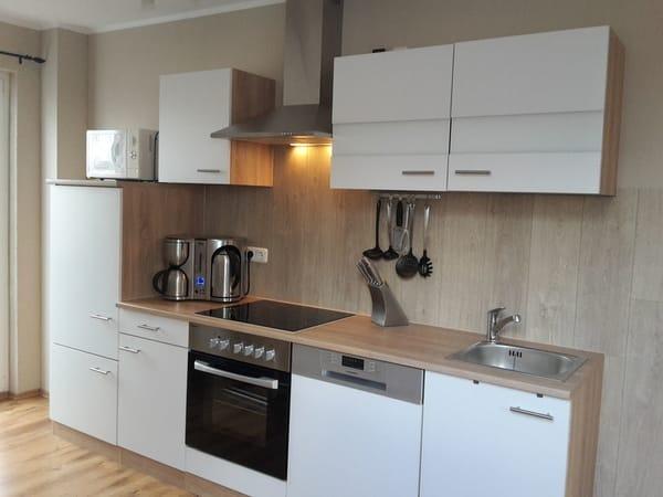 Küche mit Frühstückcenter 4 in einem, Herd, Ceranfeld, Spülmaschine Kühlschrank