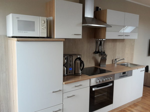 Küche mit Herd und Ceranfald, Spülmaschine, Kühlschrank