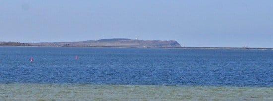 Blick aus dem Wohnzimmer auf die Insel Hiddensee