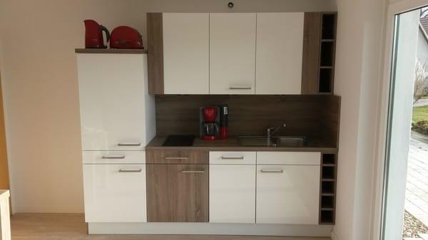 Wohnraum mit integrierter Küche (Spülmaschine)