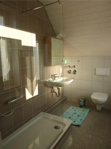 Tageslichtbad mit Walk-In-Dusche
