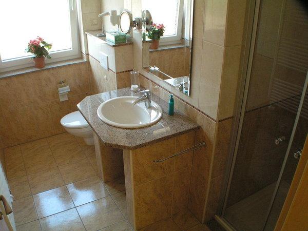 Bad mit Dusche, Fön und Kosmetikspiegel