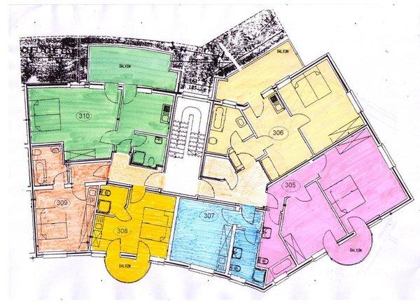 Grundriss unserer Wohnungen im Rondell: Whg 306 hellgelb re. oben