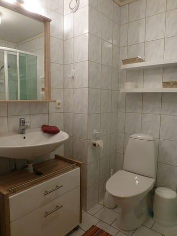Ferienhaus Residenz zu den 3 Tannen Zingst - Bad im Obergeschosse mit Waschbecken, Dusche, Toilette und Zugang zur kleinen Sauna