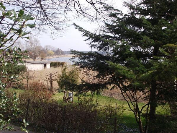 Blick vom Hof auf den Boddenweg und Breeger Bodden