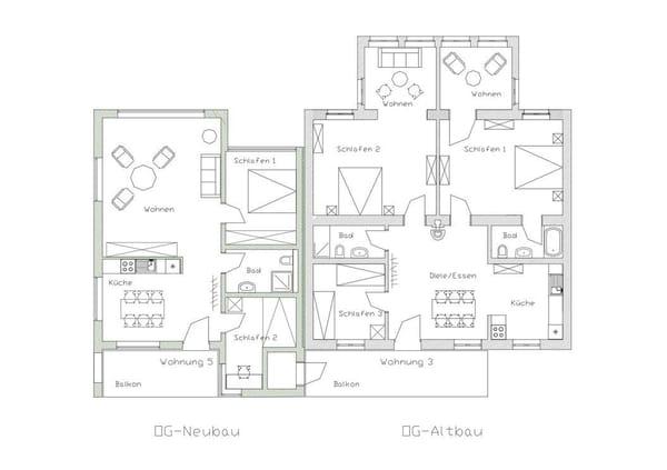 Grundriss im Obergeschoss mit FeWo 3 im Altbau und FeWo 5 im Neubau