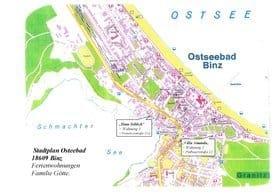 Stadtplan Binz mit Ferienwohnung 1+2