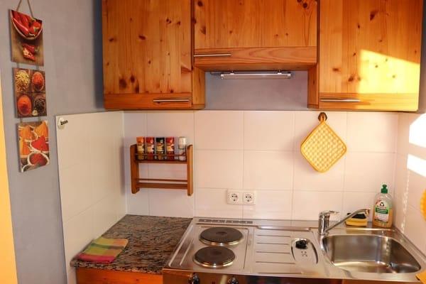 Die Pantryküche bietet zwei Herdplatten und einen Kühlschrank mit 2-Sterne-Eisfach.