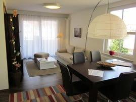 Wohnzimmer mit Einbauküche und Essbereich