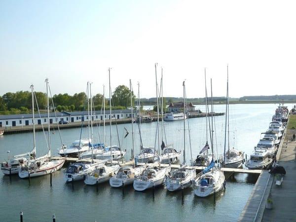 Panoramablick auf den Segelhafen und die unbebauten Peenewiesen von allen Fenstern