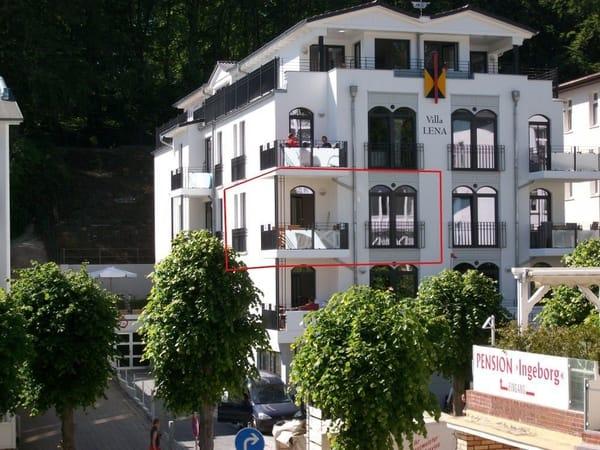 die Villa Lena, unsere Fewo ist rot umrandet :-)