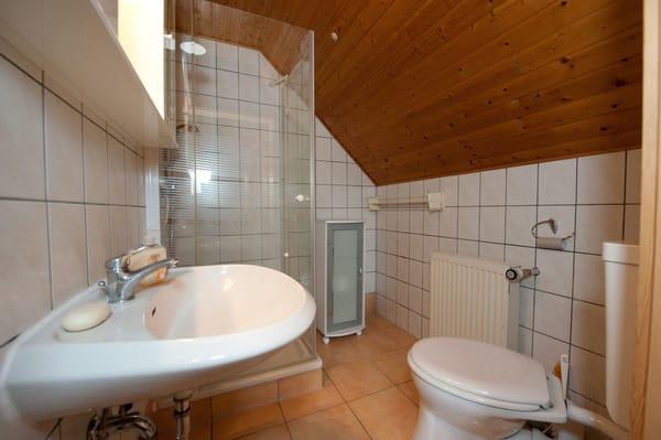 Das Bad ist klein, aber gut ausgestattet.