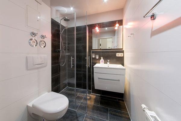 Das schicke Bad hat Echtglasdusche, WC und Waschbecken.