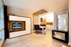 Im großen Wohnzimmer schafft der Ethanolkamin wohliges Ambiente. Ein großer Flachbild-TV, DVD-Player und CD-Radio gehören auch zur Ausstattung.