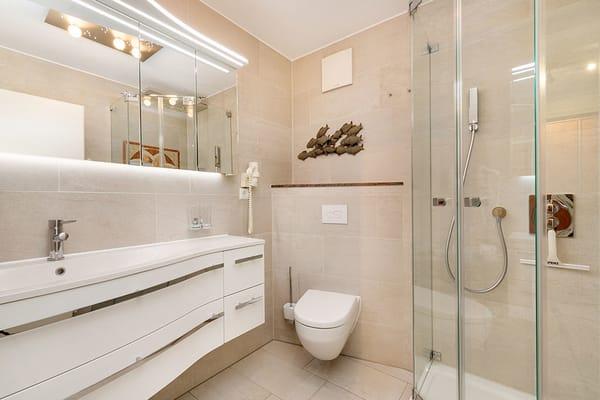 Das neue Bad bietet Ihnen Echtglasdusche, einen großen Waschtisch und WC.