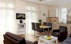 Der Wohnbereich ist hell und freundlich eingerichtet, 3D Flat TV mit Bluray, WLAN mit iPad sowie eine Sonos-Musikanlage stehen zu Ihrer Verfügung.