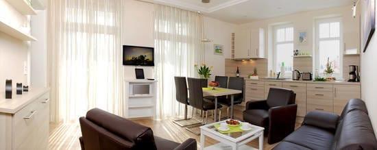 Das ruhige 3-Zimmer Appartement mit Ost-Süd Ausrichtung befindet sich im 1.Obergeschoss der Villa Gruner und ist für 4 Personen ausgelegt.