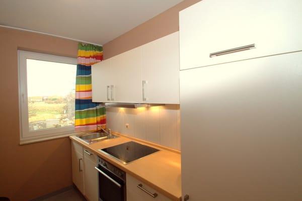 Küche mit Geschirrspüler und Backofen