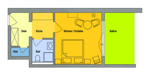 Wohnung mit großem Balkon