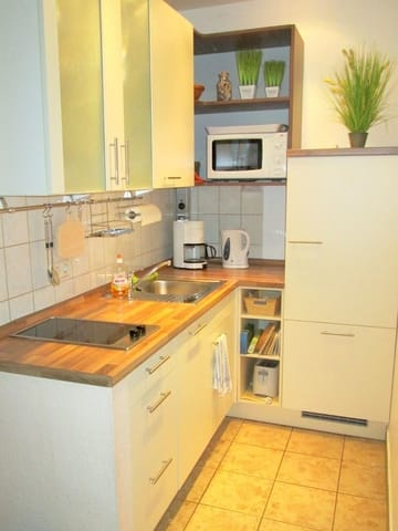 Einbauküche: Kühlschrank, Geschirrspüler, Mikrowelle, Kochfeld