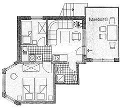 Grundriß Wohng 2 mit seinem Balkon. Dieser Balkon ist  aber auch (nur) der Zugang für die danebenliegende Wohnung 3 mit anderem Balkon.