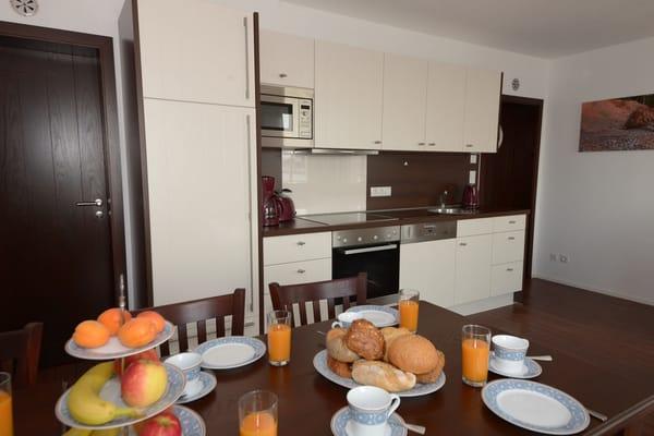 voll ausgestattete Küche mit 4-PlattenCeranHerd, Geschirrspüler, Mikrowelle und Backofen