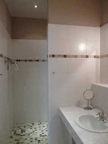 Bad mit Dusche, WC, Kosmetikspiegel, Fön