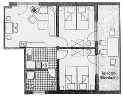 Grundriss Wohnung 3 mit Südbalkon