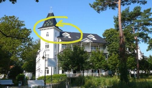 Die berühmte Wohnung mit dem Türmchen in der Villa Stranddistel. Ganz oben mit fantastischem Meerblick!