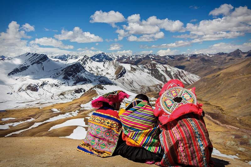 Tourist on top of the Mountain