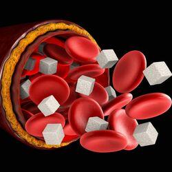 Glucosio nel Sangue: Globuli Rossi con con Cubetti di Zucchero