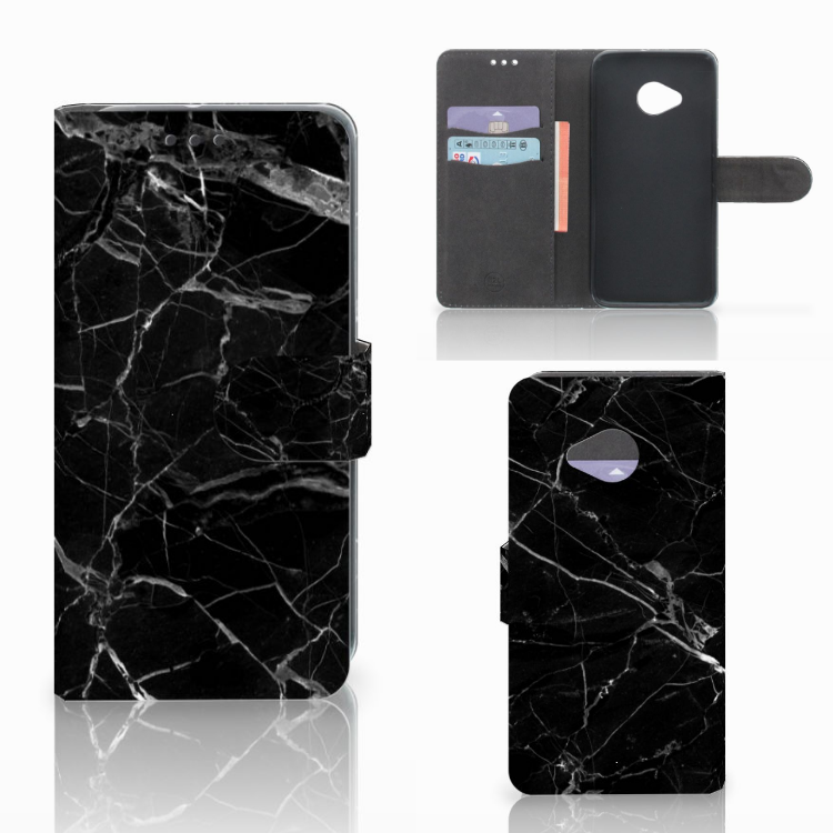 HTC U11 Life Bookcase Marmer Zwart - Origineel Cadeau Vader