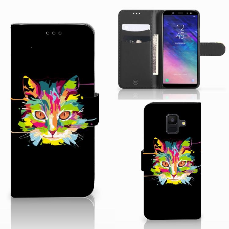 Samsung Galaxy A6 2018 Leuke Hoesje Cat Color