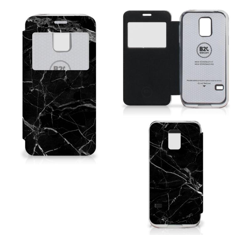Samsung Galaxy S5 Mini Bookcase Marmer Zwart - Origineel Cadeau Vader