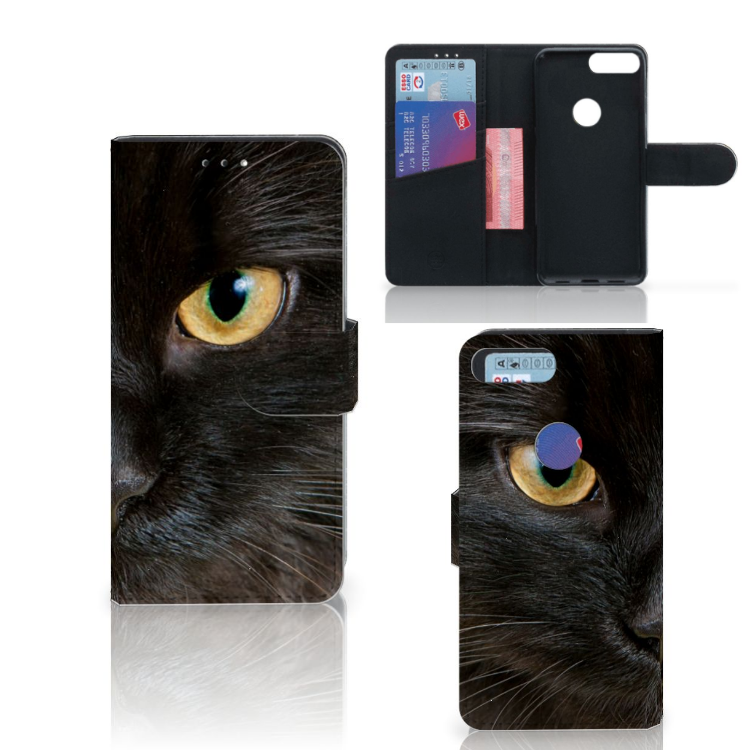 Alcatel 1S (2019) Telefoonhoesje met Pasjes Zwarte Kat