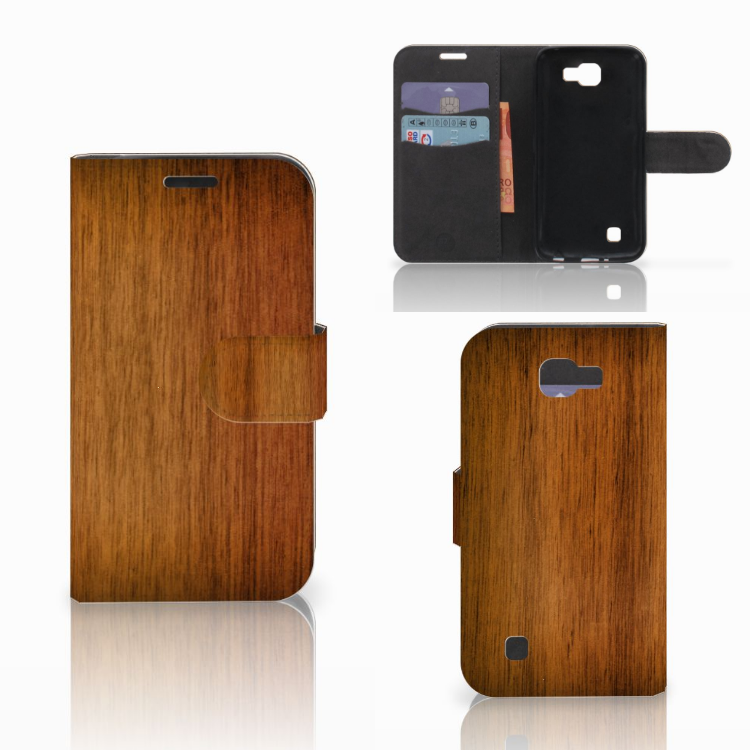 LG K4 Book Style Case Donker Hout