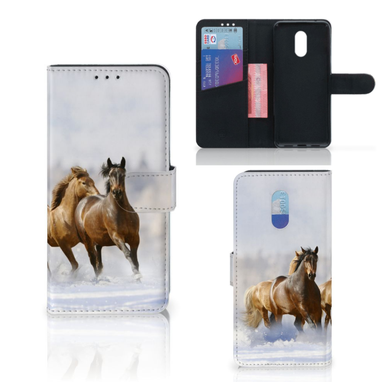 OnePlus 6T Telefoonhoesje met Pasjes Paarden