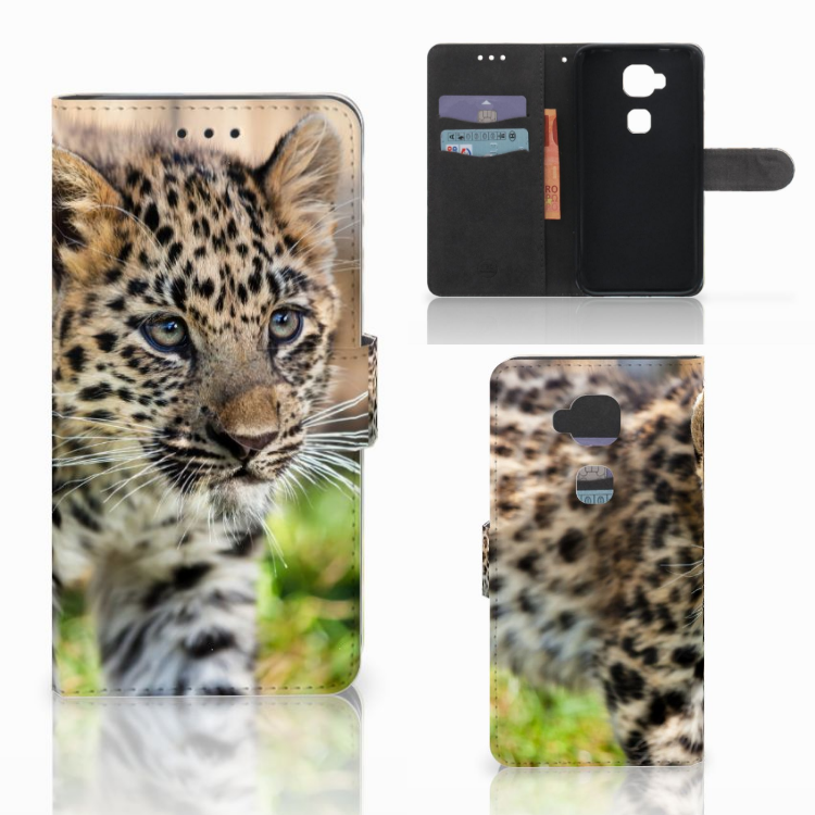 Huawei G8 Telefoonhoesje met Pasjes Baby Luipaard