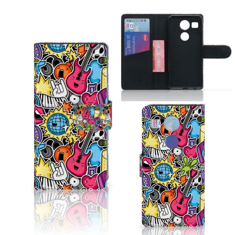 LG Nexus 5X Wallet Case met Pasjes Punk Rock
