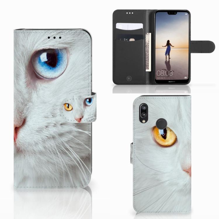 Huawei P20 Lite Telefoonhoesje met Pasjes Witte Kat